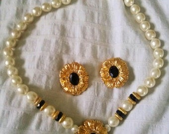 vintage k.j.l for avon necklace and clip on earrings set