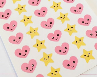 35 Kawaii Star and Heart Planner Stickers- Cute Stickers- perfect in your Erin Condren planner, Plum Planner, wall calendar or scrapbook