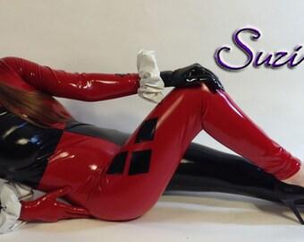 harley quinn style leggings  stretch gloss black  red