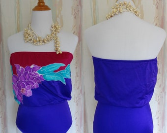Tropical Strapless High Waist One Piece Bathing Suit/Maillot Purple Floral 80s Size 4/6