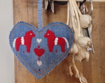 Dala Horse Denim Heart