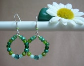 Mini Beaded Hoop Earrings (in Shades of Green)