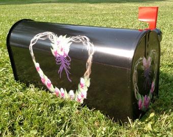 Hand Painted Mailbox w/ Rosebud Wreath