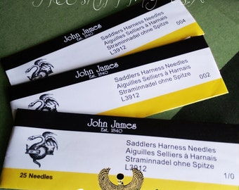 25 Pack - John James Saddlers Harness Needles for Ritza 25 Tiger Thread Hand Sewing Needles