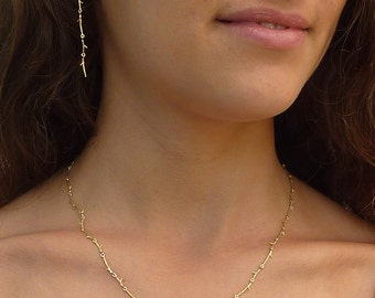 Branch gold necklace, twig solid gold necklace, real gold, gift for bride from groom