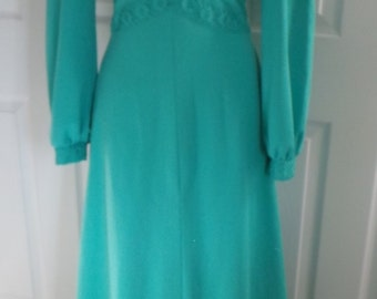 1970s Green Maxi Dress
