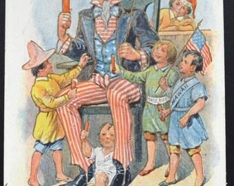 Patriotic Postcard 4th of July Artist Signed Lounsbury