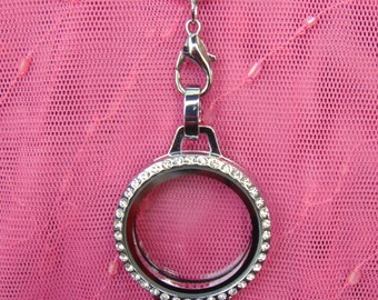 Memory Locket with Crystals Laynard with 24 Inch Custom Chain. Free Gift With Purchase. US Seller.