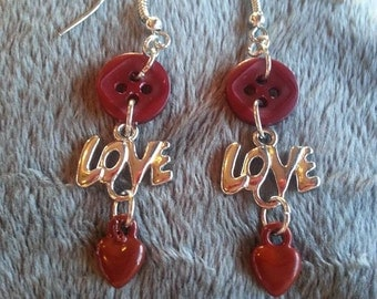 love button earrings