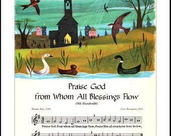17th Century Hymn, Praise God from Whom All Blessings Flow (Old Hundreth) Poster Print sizes A4/A3.