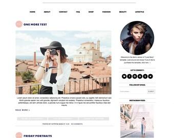 "Blogger Template Premade Blog Design - ""Love Story"" Blogger Theme Pastel Pink Navy Blogspot"