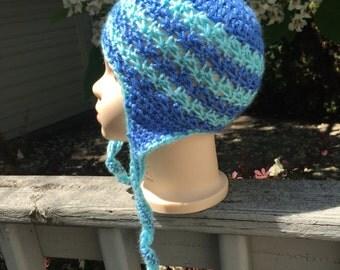 Baby/Toddler Blue Aqua Stripe Crochet Earflap Beanie