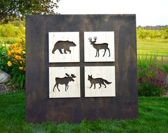 Wood Woodland Animal Silhouette Cutouts