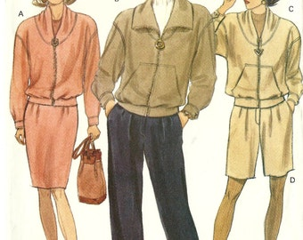 Vogue 1980s vintage sewing pattern 8150 outerwear jacket, skirt, pants - Size 6-8-10