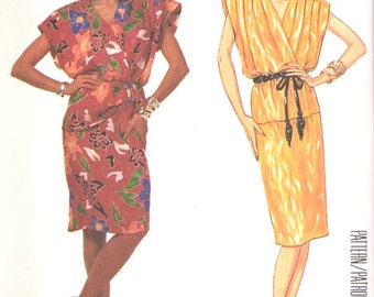 McCall's Eklektic LTD vintage 1980s sewing pattern - mod surplice bodice dress - Size 12 or 14