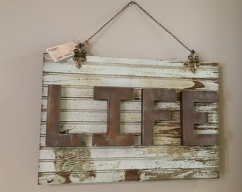 LIFE Sign made from Upcycled Vintage Door and Hardware