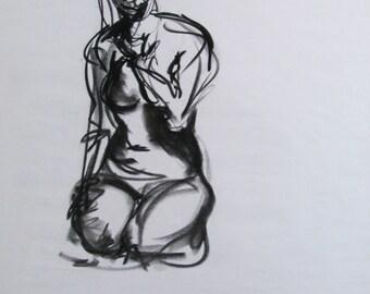 Charcoal Drawing, Girl Sitting