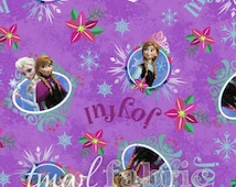 Woven Fabric - Christmas Disney Frozen Sisters Merry & Joyful Purple - Fat Quarter Yard +