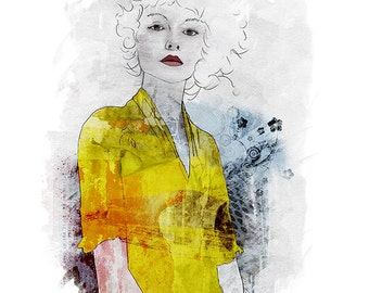 Yellow Dress Fashion Illustration Collage Art Print Yellow Wall Decor Watercolor Ink Painting 1and4 Studio