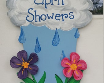 April Showers Bring May Flowers 3D door hang