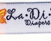 Ten (10) La-Di-Da Diapers Woven Labels
