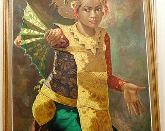 Indonesian Dancing Girl 1960, Oil Painting