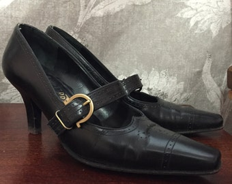 Leather Ferragamo heels size 5.5