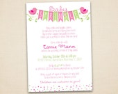 Pink and Lime Green Baby Sprinkle Invitation - Bird Themed - Birds Holding Banner on Tree Branches - Printable Digital File