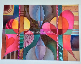 Original Watercolor Art Colorful Hearts & Pattern, Framed Wall Art / Rase Hall