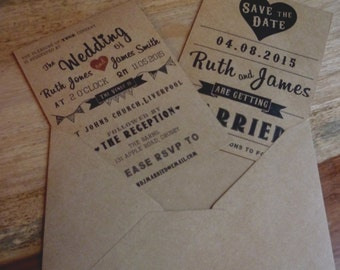 Vintage / Retro Wedding Invitation and Save The Date Pack