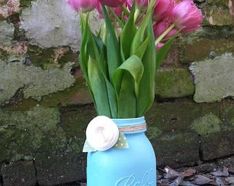Rustic Wedding Centerpiece, Paper Flower Mason Jar Centerpiece, Paper Flower Party Decoration, Hostess Gifts, Teacher Gifts