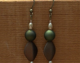 Matte Green and Brown Dangle Earrings