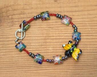 Glass Bead Bumblebee Bracelet