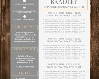 Resume Template and Cover Letter, References, Thank You Templates - 4 Piece Template - Instant Download - Customizable Editable Mac and PC