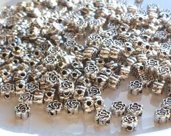 Rose beads x 11, Tibetan silver beads, Rose flower beads, Flower shape beads, Metal flower beads