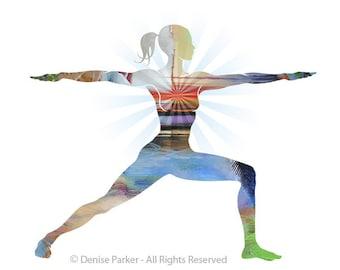 "Yoga Art, ""WARRIOR POSE II"" - Small, Yoga Wall Art, Yoga Pose, Yoga Artwork, Yoga Print, Yoga Studio Artwork, Giclée, Contemporary Yoga Art"