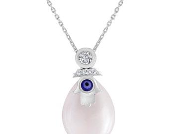 Man Made Teardrop Pearl Pendant In Sterling Silver