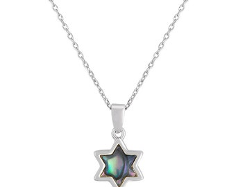 Star Of David In Black Shell And Sterling Silver