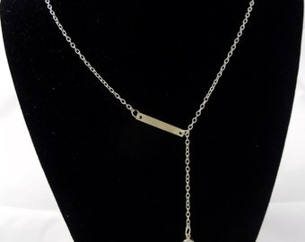 Gold Lariat Necklace with Crystal Charm