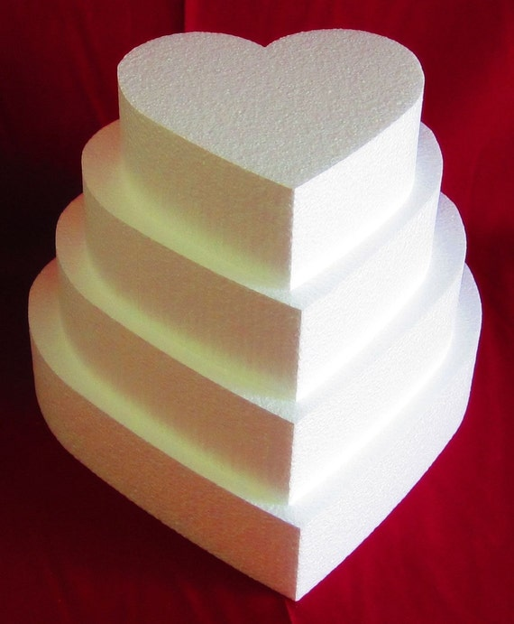 Foam Cake Dummy Set 4 Pc Heart 8 To 14 At 3
