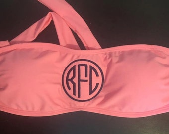 Coral Monogrammed Swimsuit Top
