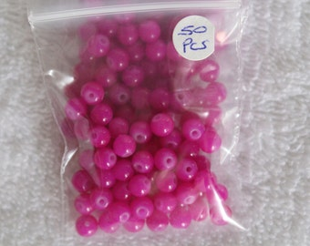 6mm Imitation Jade Glass Beads (50 pieces + 5 free)