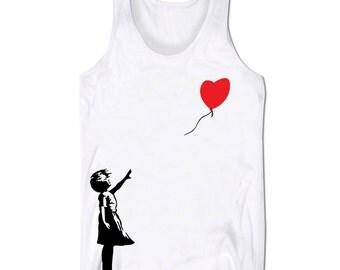 Banksy Tank Top Vest Balloon Girl Graffiti Holiday Festival Summer Low Cut Vest
