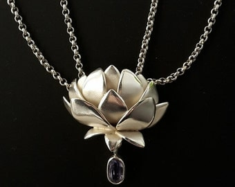 Double row necklace with Lotus Flower 925 Sterling Silver Pendant with tanzanite
