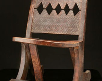 African Furniture, Ethiopian Chair, Hand-Carved, East Africa