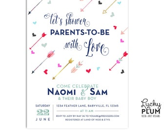 Valentine Baby Shower Invitation / Couples Baby Shower Invitation / Coed Baby Shower Invitation  / Boho Arrow Baby Shower Invite / Digital