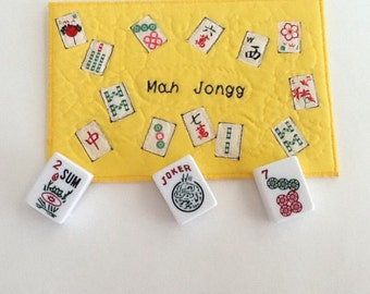 Mah Jongg Fabric Postcard, Mah Jongg  hand quilted Greeting Card, Mah Jong Gift, Postcard Art,  Mini Quilt, Quilt Fabric Art, Postcard