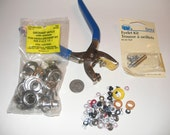 Grommet tool with washers and eyelets, various sizes