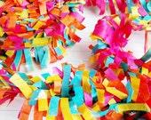 Summer Garden Brights Flamingo Pink Yellow Aqua Orange Party Frilly Tissue Fringe Festooning Garland for DIY Banner, One 25-Foot Roll