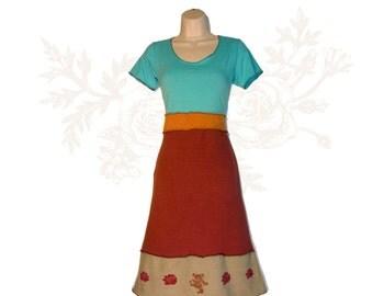 Organic cotton and Hemp Dress - Dancing Bear and Roses Print - Handmade and dyed - Custom made to order Organic cotton and Hemp jersey